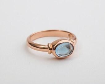 Minimal Aquamarine Ring, 18k Rose Gold Aquamarine Ring, March Birthstone Ring, Women's Gem Stone Ring, Aquamarine Cabochon