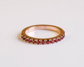 Ruby Gold Ring, Ruby Band, Stackable Ruby Ring, Ruby Wedding Ring, 18k Gold Engagement Ring, Eternity Ruby Ring, Ruby Stack Ring for Women