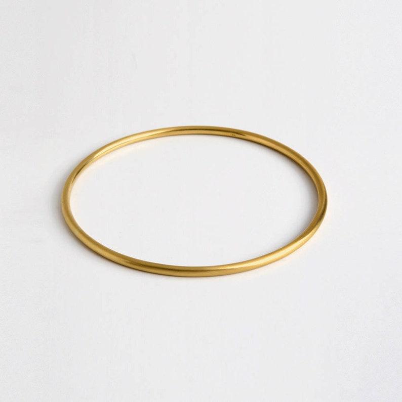 Simple Thin 18k Solid Gold Bangle Bracelet  Stacking Minimal image 0