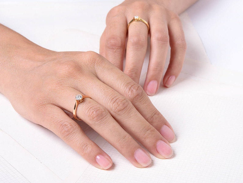 Classic Solitaire Diamond Engagement Ring  Rose Gold Diamond image 0