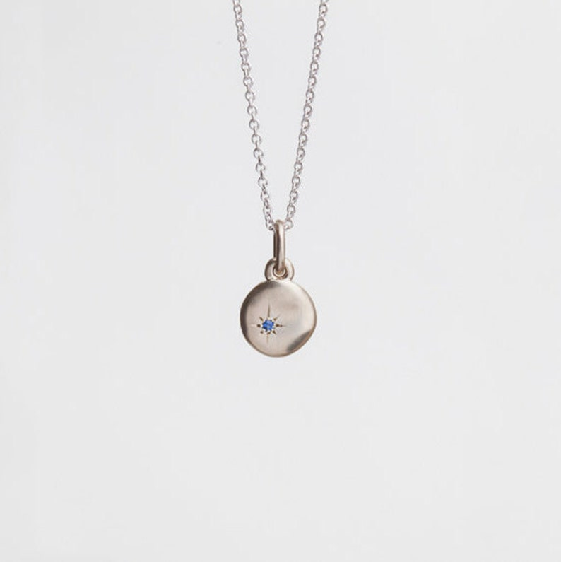 147d92f143978 Sapphire Necklace Pendant ⦁ Simple Gold Disc ⦁ 14k White Gold Charm Pendant  for Her,Cloud,Women's Tiny Saphire Pendant 18k
