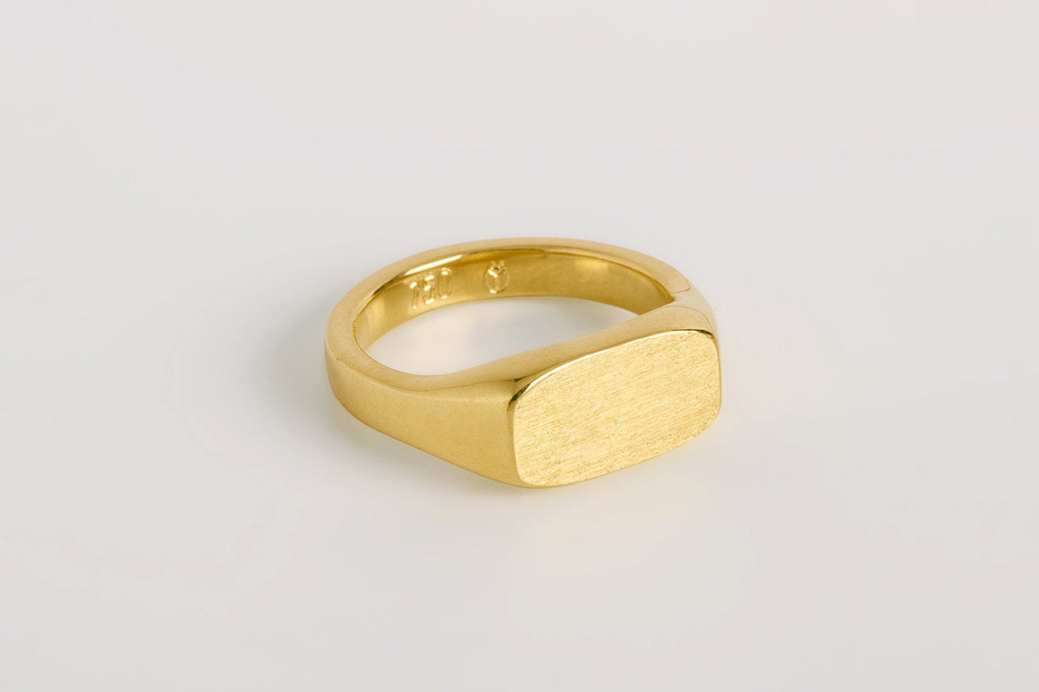 Pinky Signet Ring Rectangle Solid 14k 18k Yellow Gold Band