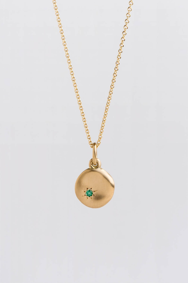 Large Emerald Pendant Gold Necklace  18k Yellow Gold Disc  image 0