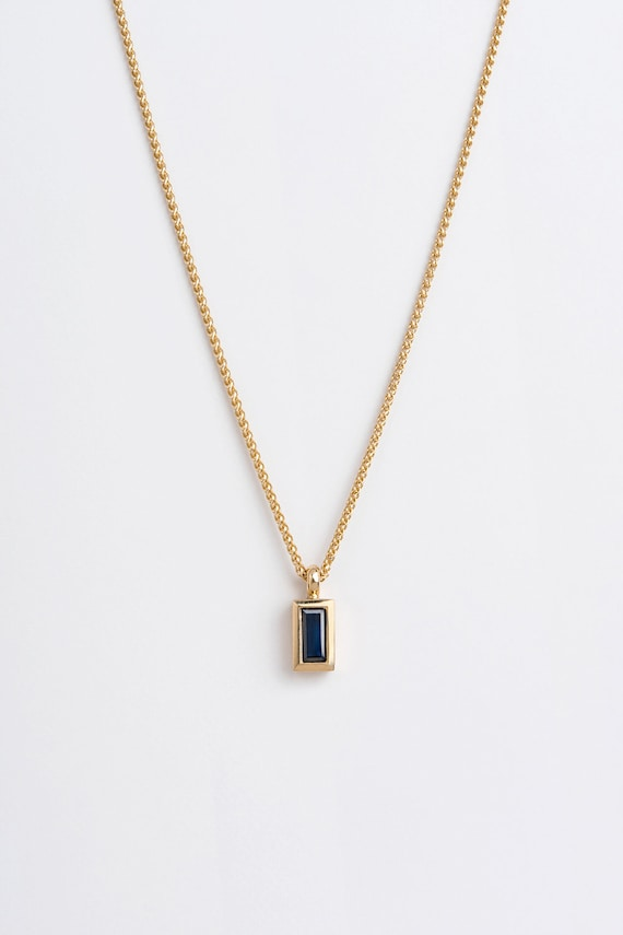 saphire necklace gold sapphire necklace gift for her delicate gold necklace gold delicate necklace Blue sapphire necklace
