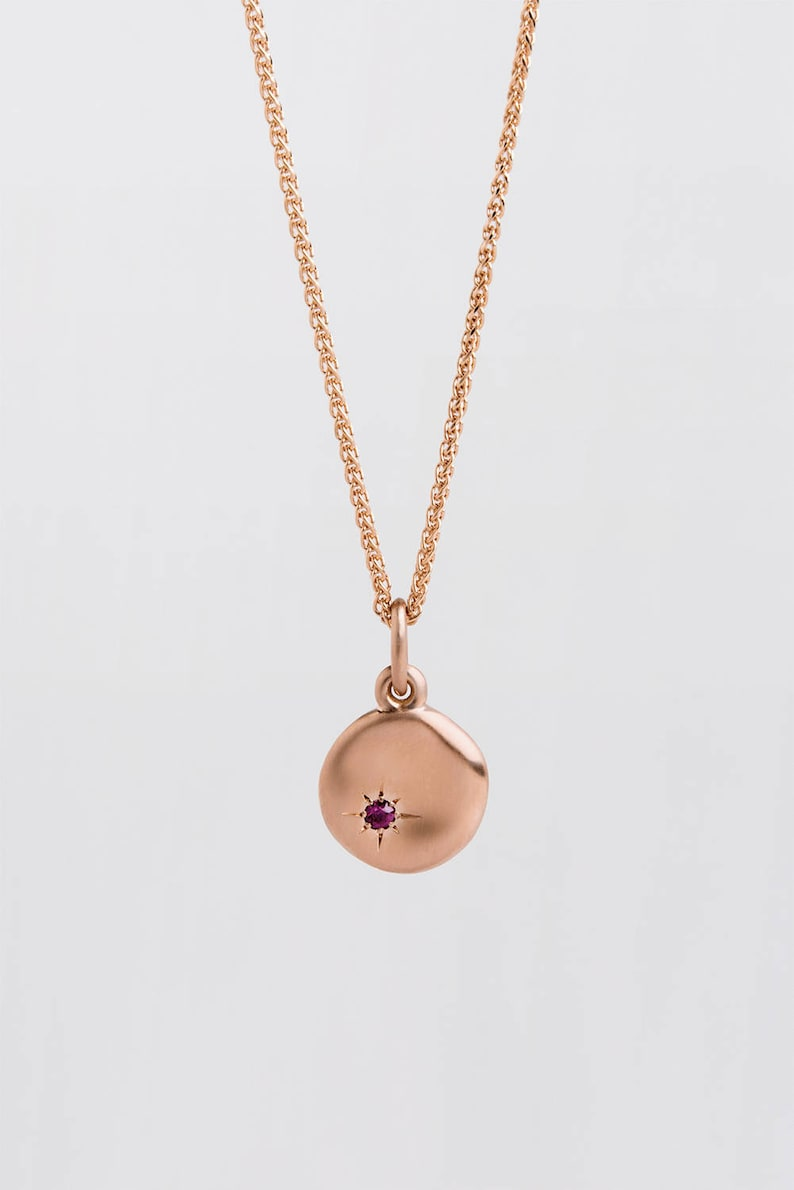 Large Ruby Pendant Gold 18k / 14k Rose Gold Disc Necklace  image 0