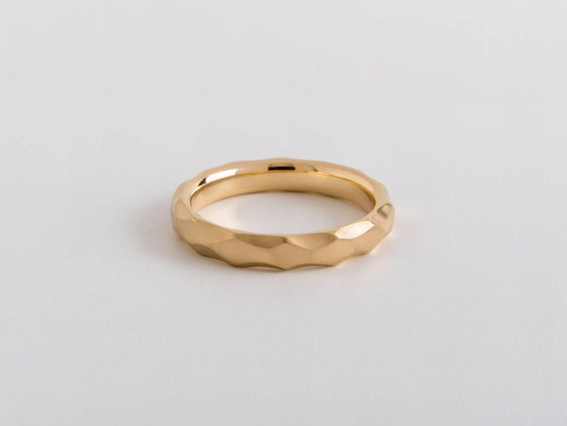 Delicate Facet Wedding Band Ring  Geometric Gold Ring  image 0