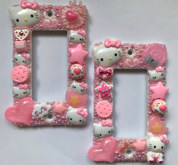 -FREE SHIPPING HELLO KITTY LIGHT SWITCH COVER AND OUTLET PLATES ADORABLE