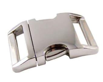 "Alu-Max ® silver side release buckle 1""  dog collar buckle"