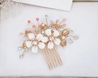 DUAL FLOWER CLEAR RHINESTONE CRYSTAL HAIR COMB BRIDAL WEDDING JEWELRY GIFT C1711