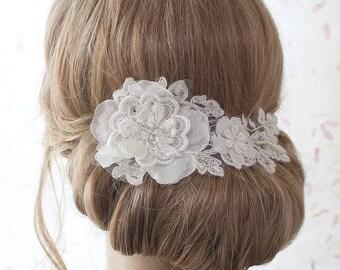 Spitze Haare kämmen, Braut Kopfschmuck, Elfenbein floralen Kopfschmuck, Spitze Kopfschmuck, Braut-Accessoires