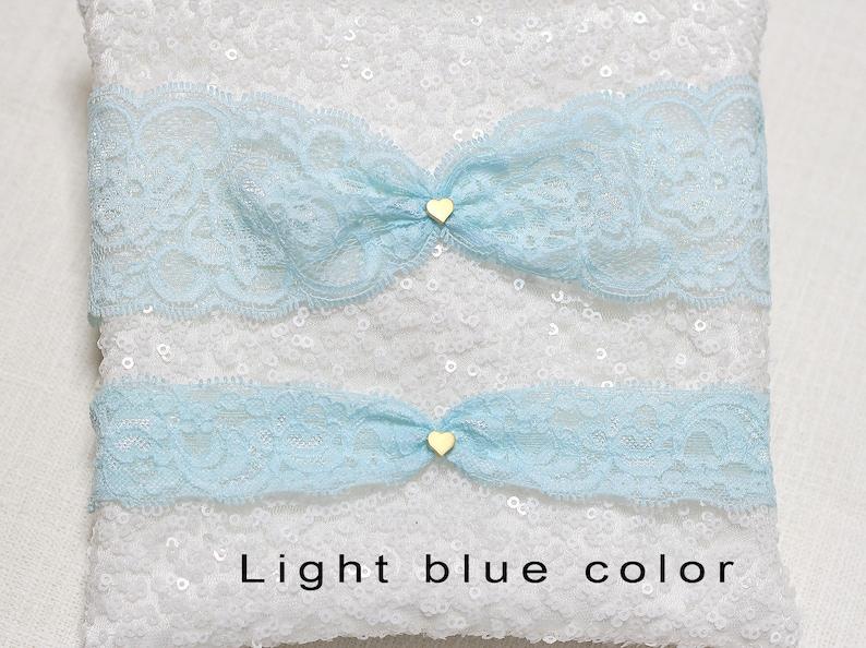 lace garter set gold tiny heart charm garter set wedding garter set bridal garter set Navy lace garter set