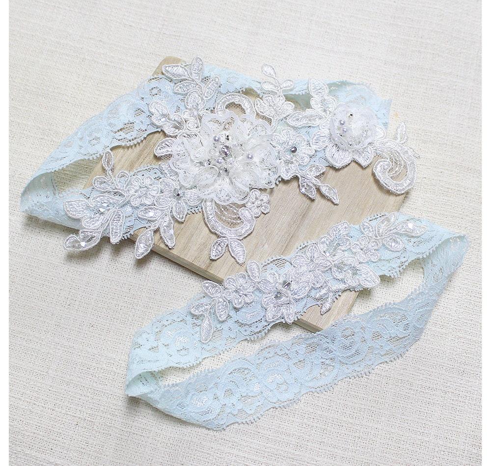 Lace Blue Garter Set Wedding Garter Set Bridal Garter Set