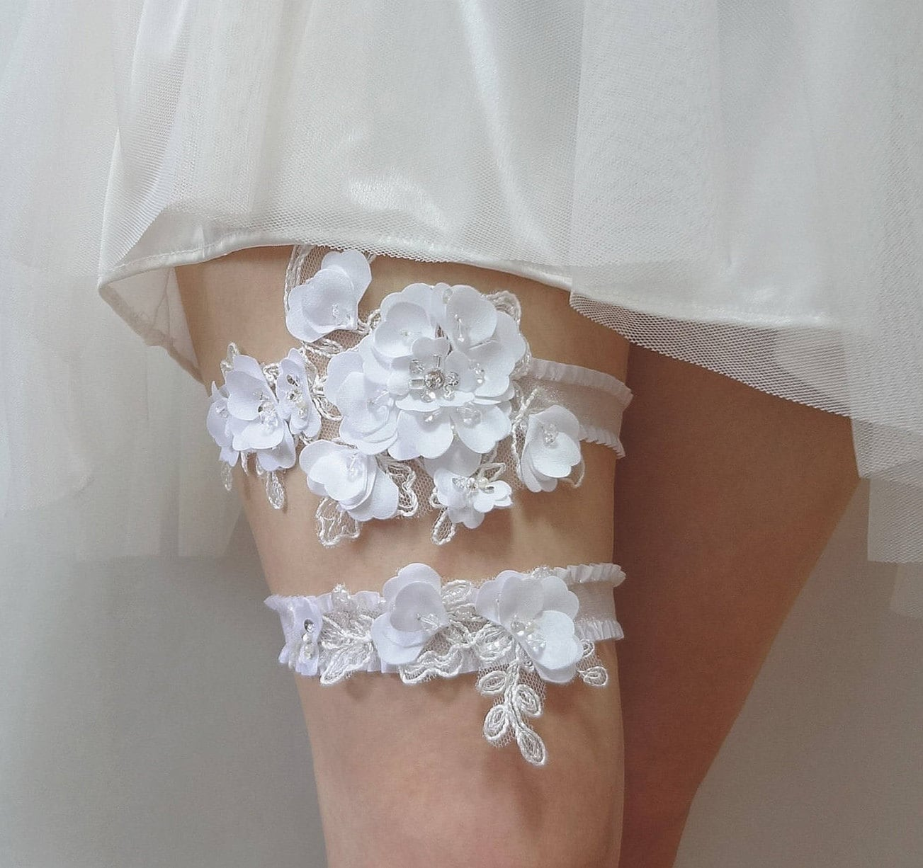 Lace Wedding Garters: White Satin Lace Garter Set Bridal Garter Set Wedding
