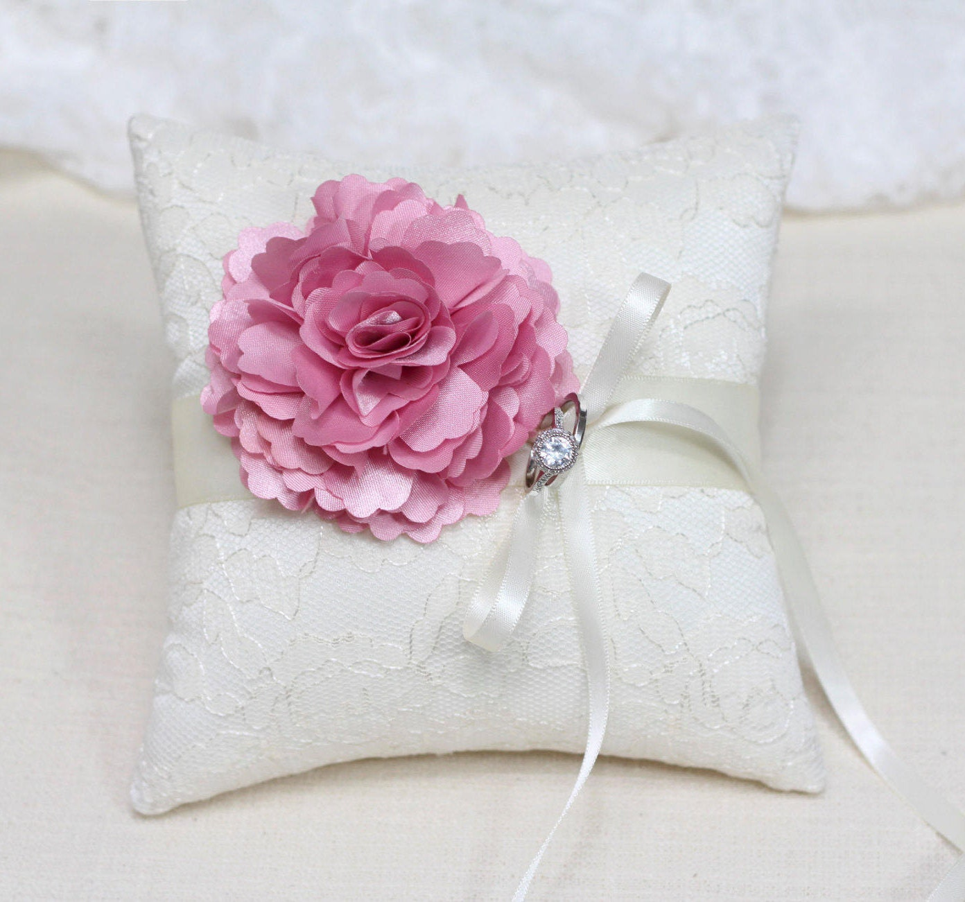 Wedding ring bearer pillow pink flower on ivory lace ring | Etsy