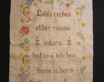 "Vintage Kitchen Sampler, large size will finish to 17.75"" wide by 26"" high, unfinished border design, oatmeal shade of linen, retro Paragon"