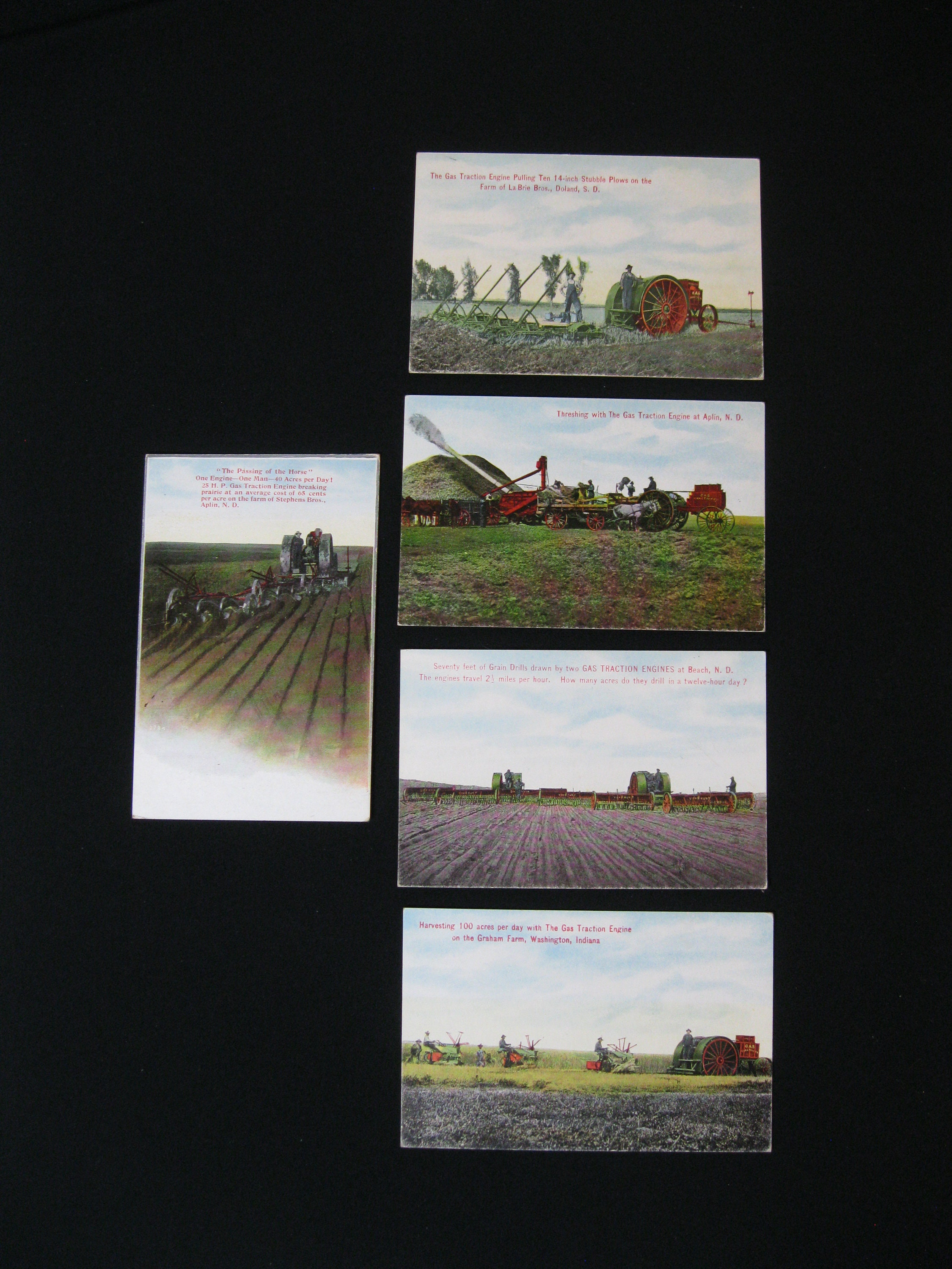 Antique Postcard Lot of 5, Gas Traction Company, circa 1910, 3 5