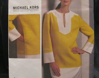 Size 6 - 12 Vogue 1090, Michael Kors, Vogue American Designer, banded and bold color blocked dress, 2009, easy sewing rating, factory folded