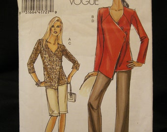Size 8 - 14, Vogue 8403, Very Easy jacket, long shorts and pants, wrap front jacket, asymmetrical closure and three quarter or long sleeves