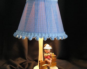 """Nursery Originals Vintage Lamp, blue gingham lampshade, Irmi design, circa 1950 - 60's, height 16.5"""" with shade, little boy's bedroom lamp"""
