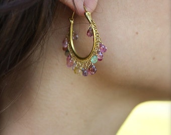 Tourmaline drops and 18k matte gold hoop earrings