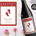 Custom Wine Label - BABYFEET Pregnancy Announcement! (Personalized) Great for Announcing, Gender Reveals, Baby Shower Decorations, Favors