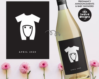 Pregnancy Announcement Custom Wine Label Personalized Baby