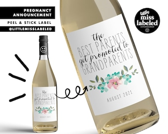 Pregnancy Announcement Custom Wine Label (personalized) baby announcement gender reveal baby shower favors decorations labels for wine
