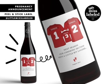 Football, Soccer, Pregnancy Announcement Wine Label, Personalized, Baby Announcement, Gender Reveal, Baby Shower, Favors, Gift, Wine Label