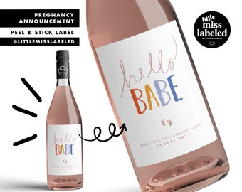 Hello Babe, Pregnancy Announcement Wine Label, Personalized, Baby Announcement, Gender Reveal, Baby Shower, Baby Feet, Coming Soon