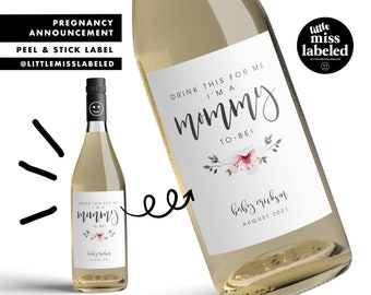 Drink This For Me, Mommy to Be, Pregnancy Announcement Wine Label, Personalized, Baby Announcement, Gender Reveal, Baby Shower, Floral