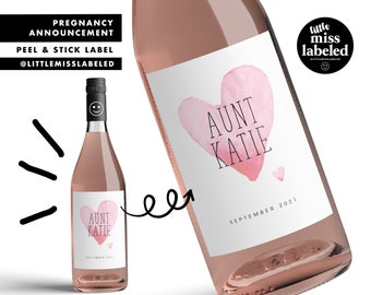 Aunt, Heart, Pregnancy Announcement Wine Label, Personalized, Baby Announcement, Gender Reveal, Baby Shower, Peel and Stick Label, Wine Gift