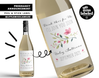 Drink this for Me, I'll Join You Soon, Pregnancy Announcement Wine Label, Personalized, Baby Announcement, Gender Reveal, Baby Shower