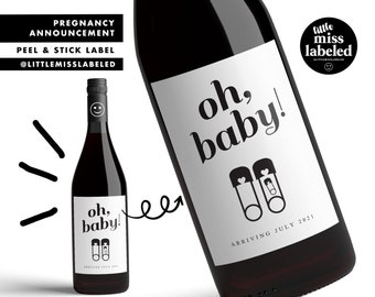 Oh Baby, Cute Pregnancy Announcement Wine Label, Personalized, Baby Announcement, Gender Reveal, Baby Shower, Baby Feet, Due Date
