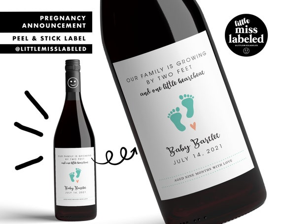 Aunty to Be Wine Labels Personalised Im Pregnant Reveal Family Friends Custom Baby Announcement Wine Labels Have a Drink for Me Stickers