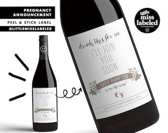 Baby on Way, Pregnancy Announcement Wine Label, Personalized, Baby Announcement, Gender Reveal, Baby Shower, Baby Feet, Due Date, Wine Label