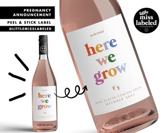 Here We Grow, Pregnancy Announcement Wine Label, Personalized, Baby Announcement, Gender Reveal, Baby Shower, Baby Feet, Due Date