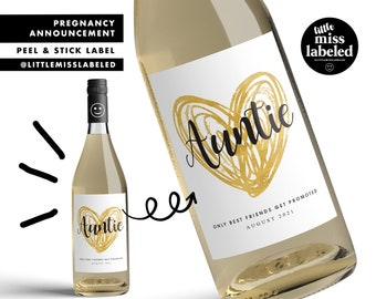 Auntie, Pregnancy Announcement Wine Label, Personalized, Baby Announcement, Gold Heart, Gender Reveal, Baby Shower, Wine Label