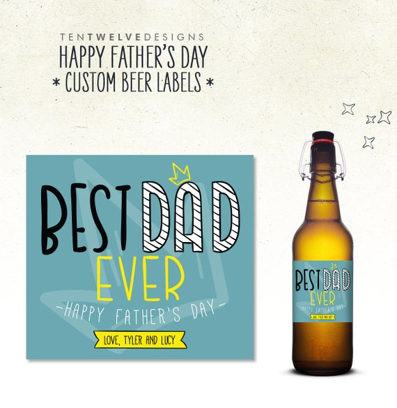 Happy Fathers Day Beer Bottle Label Personalized Etsy