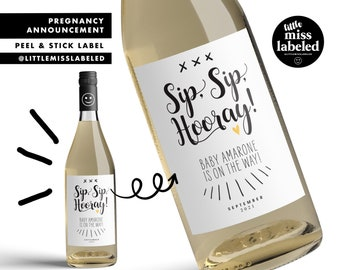 Sip Sip Hooray, Baby on the Way, Pregnancy Announcement Wine Label, Personalized, Baby Announcement, Gender Reveal, Baby Shower, Due Date