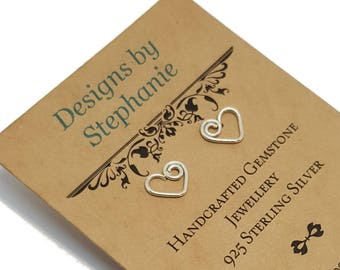 925 Sterling Silver Swirl Heart Stud Earrings - Designs by Stephanie