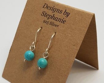 Tiny Turquoise coloured Howlite Gemstone Drop Earrings. 925 Sterling Silver. Small, Everyday Drop Earrings. Designs by Stephanie