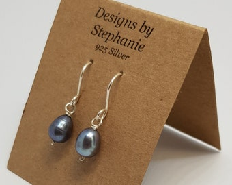 Peacock Pearl, Black Freshwater Pearl 925 Sterling Silver Drop Earrings. June Birthstone. Genuine Pearl, Hook Earrings. Designs by Stephanie