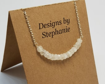 Moonstone 925 Sterling Silver Necklace. Delicate Moonstone bar necklace, boho Rainbow moonstone - Designs by Stephanie