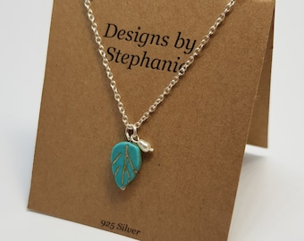 Turquoise Howlite Leaf Necklace. 925 Sterling Silver. Boho simple, cute Necklace. Matching Earrings. Designs by Stephanie