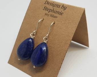 Lapis Lazuli Tear Drop Sterling Silver Drop Earrings. Navy blue pear shaped lapis drop earrings. 925 Sterling Silver Designs by Stephanie