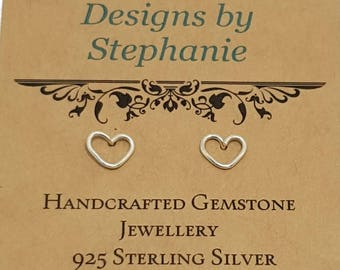 925 Sterling Silver Heart Outline Earrings