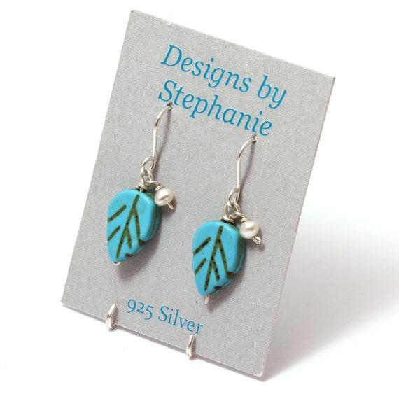 Blue Turquoise Leaves 925 Sterling Silver Dangle Earrings
