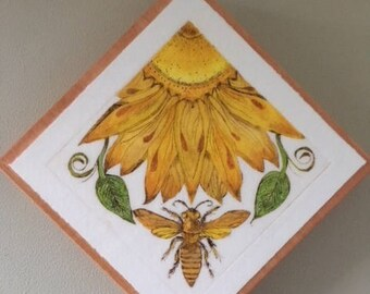 Bee & Sunflower Limited Edition Drypoint Print