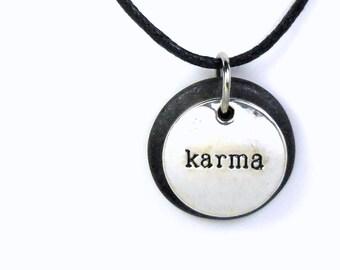Karma Necklace, Inspirational word Jewelry, Polymer Clay Word Pendant, Karma Jewelry