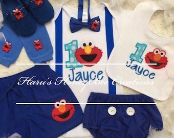 4 Pcs Set Elmo Sesame Street Inspired Birthday Boys Outfit Etsy